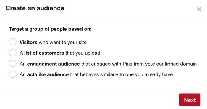 tạo đối tượng quảng cáo Pinterest tương tự