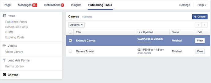 tạo facebook canvas 4