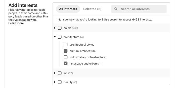 thêm sở thích vào nhóm đối tượng quảng cáo Pinterest