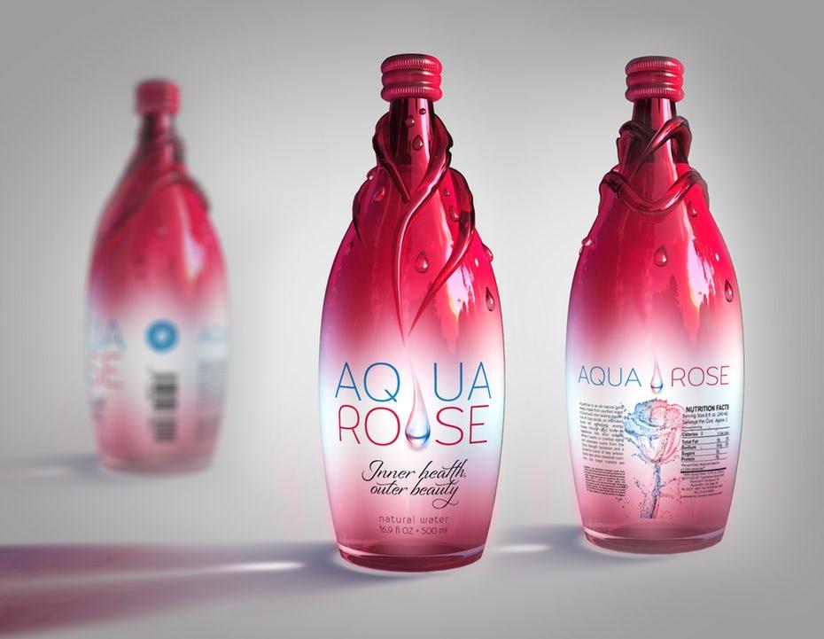 thiết kế bao bì của aqua rose
