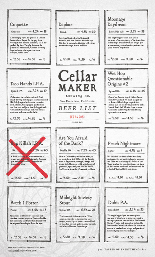 thiết kế menu cellarmaker