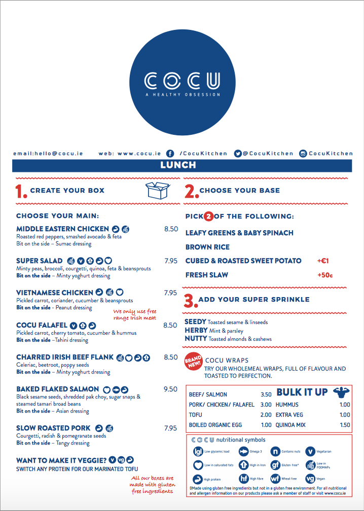 thiết kế menu cocu kitchen