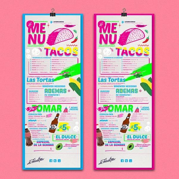 thiết kế menu la fabrica del taco