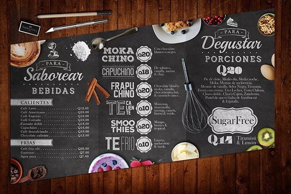 thiết kế menu pasteleria los tulipanes