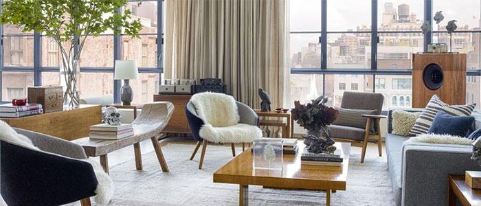 thiết kế phòng khách ở khu Tribeca