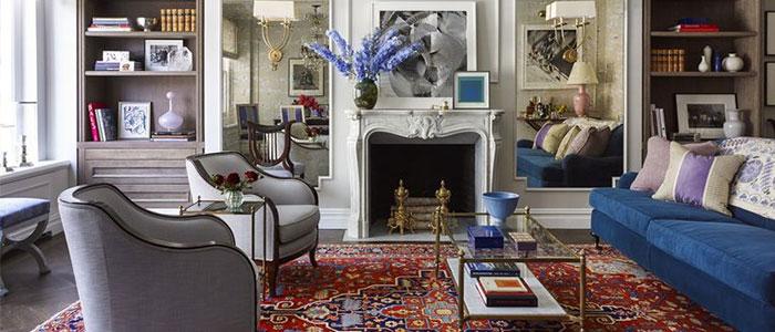 thiết kế phòng khách rực rỡ trung tâm Manhattan