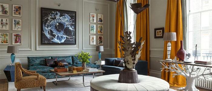 tông màu đá quý trong thiết kế phòng khách