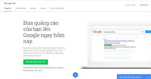 truy cập website tạo google ads
