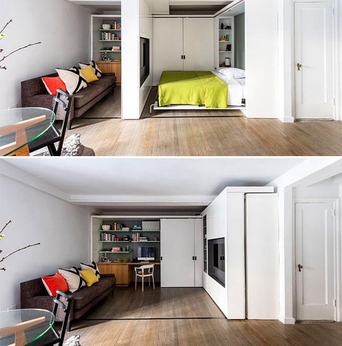 tường di chuyển kết hợp với giường gập