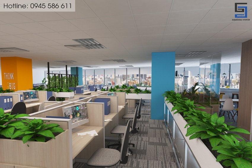 Văn phòng làm việc thiết kế xanh