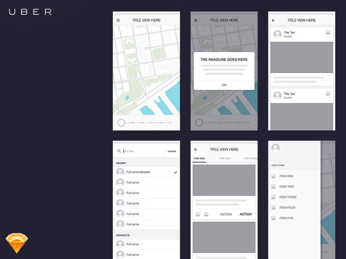 ví dụ về wireframe cũ của Uber