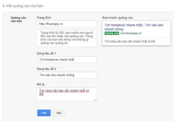 viết quảng cáo Google Adwords của bạn
